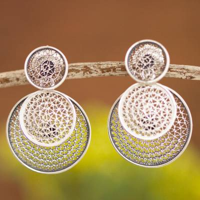 Sterling silver filigree dangle earrings, 'Circle Celebration' - Triple Circle with Filigree Sterling Silver Dangle Earrings