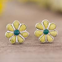 Serpentine and chrysocolla stud earrings, 'Children of Nature' - Floral Serpentine and Chrysocolla Stud Earrings from Peru