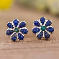 Lapis lazuli and chrysocolla stud earrings, 'Children of Nature' - Floral Lapis Lazuli and Chrysocolla Stud Earrings from Peru