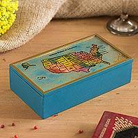 Reverse-painted glass and wood decorative box, 'National Pride' - Light Blue Wood Reverse-Painted Glass US Map Decorative Box