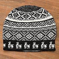 Alpaca blend knit hat, 'Alpaca Parade in Black' - Black and White Diamond Motif Alpaca Blend Knit Hat