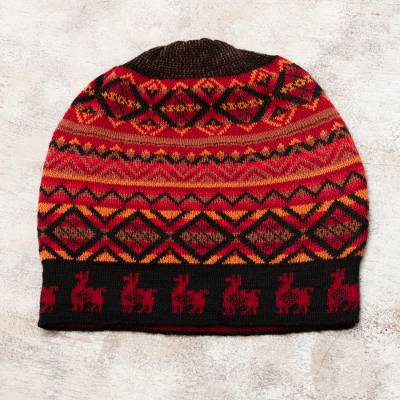 Alpaca blend knit hat, 'Alpaca Sunrise' - Red and Orange on Black Diamond Motif Alpaca Blend Knit Hat