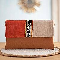 Faux suede accented handbag, 'Sophisticated Inca' - Inca-Inspired Faux Suede Accented Handbag from Peru