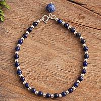 Lapis lazuli beaded bracelet, 'Magical Gleam' - Lapis Lazuli Beaded Bracelet Crafted in Peru