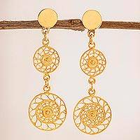 Gold plated sterling silver filigree dangle earrings, 'Circular Glimmer' - Circular Gold Plated Sterling Silver Filigree Earrings