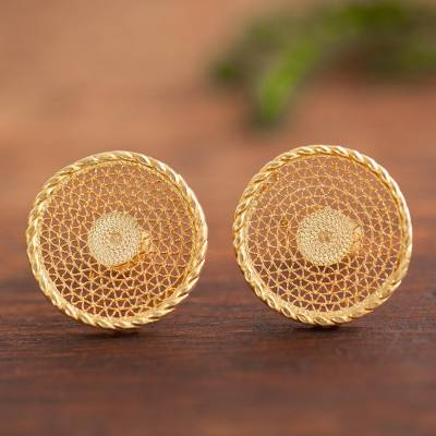 Gold plated sterling silver filigree button earrings, 'Colonial Moon' - Circular Gold Plated Sterling Silver Filigree Earrings