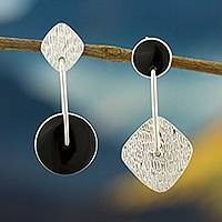 Obsidian dangle earrings, 'Midnight in Motion' - Obsidian and Textured Sterling Silver Dangle Earrings