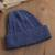 100% alpaca knit hat, 'Comfy in Dark Blue' - Indigo Blue 100% Alpaca Soft Cable Knit Hat from Peru (image 2c) thumbail