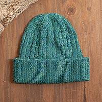 100% alpaca knit hat, 'Comfy in Teal' - Teal 100% Alpaca Cable Pattern Soft Knit Hat From Peru