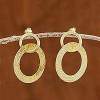 Gold plated sterling silver dangle earrings, 'Sun Circles' - 18k Gold Plated Sterling Silver Circles Dangle Earrings