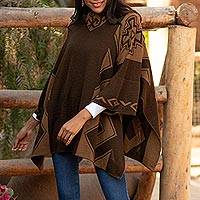 Alpaca blend poncho, 'Inca Style' - Mahogany and Burnt Sienna Alpaca Blend Poncho from Peru