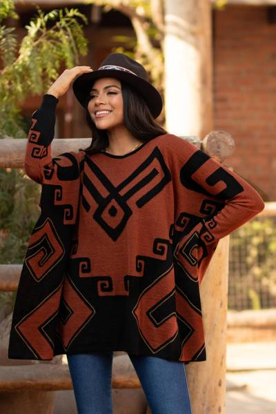 Alpaca blend poncho, 'Inca Contrast' - Black and Russet Alpaca Blend Poncho from Peru