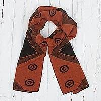 Alpaca blend scarf, 'Black and Pumpkin Andes' - Black and Pumpkin Knit Alpaca Blend Wrap Scarf from Peru