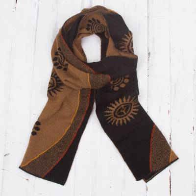 Men's alpaca blend scarf, 'Sepia and Black Cosmovision' - Reversible Sepia and Black Sun Motif Alpaca Blend Scarf