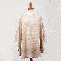Alpaca blend poncho, 'Dreamy Warmth in Ivory' - Crocheted Alpaca Blend Poncho in Ivory from Peru