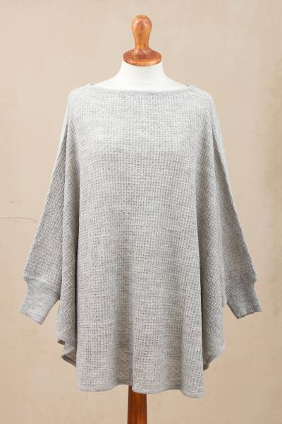 Alpaca blend poncho, 'Dreamy Warmth in Dove Grey' - Crocheted Alpaca Blend Poncho in Dove Grey from Peru