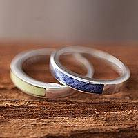 Sodalite and serpentine band rings, 'Dual Enchantment' (pair) - Sodalite and Serpentine Band Rings from Peru
