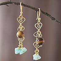 Gold plated amazonite and tiger's eye dangle earrings, 'Magic Stones' - Gold Plated Amazonite and Tiger's Eye Dangle Earrings