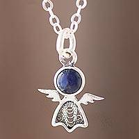 Sodalite filigree pendant necklace, 'Midnight Angel' - Sodalite Angel Filigree Pendant Necklace from Peru