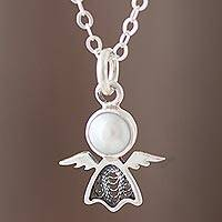 Cultured pearl filigree pendant necklace, 'Daylight Angel' - Cultured Pearl Angel Filigree Pendant Necklace from Peru