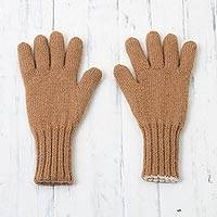 100% alpaca gloves, 'Ginger Alabaster' - Ginger and Alabaster 100% Alpaca Gloves from Peru