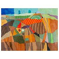 'Landscape' - Signed Abstract Landscape Painting from Peru