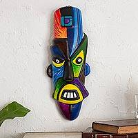 Ceramic mask, 'Nazca Mustache' - Modern Pre-Hispanic Ceramic Wall Mask from Peru