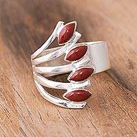 Jasper multi-stone ring, 'Radiant Leaves' - Jasper and Silver Multi-Stone Ring from Peru