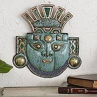 Copper and bronze mask, 'Moche Creation Deity' - Andean Moche Deity Mask in Copper and Bronze with Gemstones