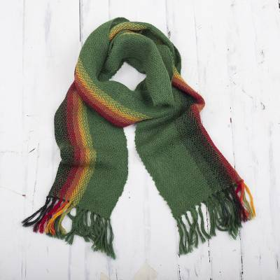 100% alpaca scarf, 'Moss Rainbow' - Green and Multicolored 100% Alpaca Wrap Scarf from Peru