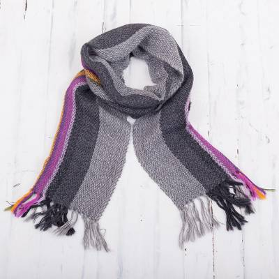 100% alpaca scarf, 'Elegant Contrast' - Grey and Multicolored 100% Alpaca Wrap Scarf from Peru