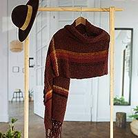 Alpaca blend shawl, 'Burgundy Elegance' - Handwoven Alpaca Blend Shawl in Burgundy from Peru