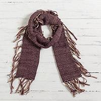 100% baby alpaca scarf, 'Mulberry Joy' - 100% Baby Alpaca Scarf in Mulberry and Champagne from Peru