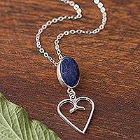 Sodalite pendant necklace, 'Majestic Heart' - Heart Motif Sodalite Pendant Necklace from Peru