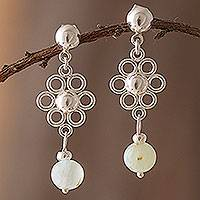 Opal dangle earrings, 'Elegant Andes' - Natural Opal Dangle Earrings from Peru
