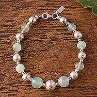 Opal beaded bracelet, 'Opal Elegance' - Opal and Sterling Silver Beaded Bracelet from Peru