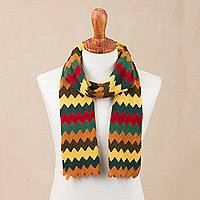 Alpaca blend scarf, 'Warm Zigzags' - Colorful Zigzag Alpaca Blend Wrap Scarf from Peru