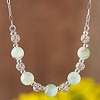 Opal beaded necklace, 'Round Glam' - Opal and Sterling Silver Beaded Necklace from Peru