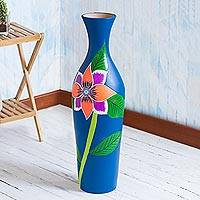 Ceramic decorative vase, 'Floral Paradise' - Hand-Painted Floral Ceramic Decorative Vase from Peru