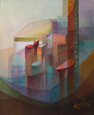 'From the Window' - Signed Abstract Painting with Vertical Lines from Peru