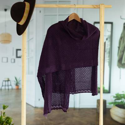 Alpaca blend shawl, 'Andean Delight in Eggplant' - Knit Alpaca Blend Shawl in Eggplant from Peru