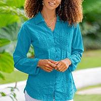 Cotton blouse, 'Lily of the Incas in Turquoise' - Turquoise Cotton Button-Up Blouse