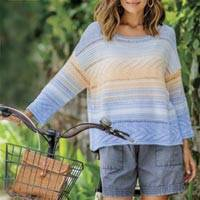 Cotton blend pullover, 'Sunset in Spring' - Ombre Fade Knit Cotton Blend Pullover Sweater from Peru