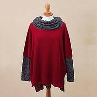 Alpaca blend sweater, 'Toasty' - Crimson Red and Grey Alpaca Blend Knit Long Sleeve Sweater