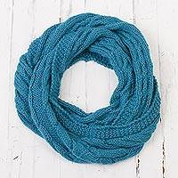 Alpaca blend scarf, 'Infinitely Brilliant' - Peacock Blue Alpaca Blend Cable Knit Infinity Scarf