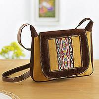 Wool accented suede messenger bag, 'Fun Travels' - Wool Accented Suede Messenger Bag from Peru