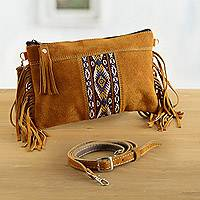 Wool accented suede handbag, 'Golden Brown Fringe' - Fringed Wool Accented Suede Handbag in Golden Brown