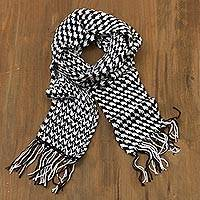 Alpaca blend scarf, 'Hint of Houndstooth' - Black and White Alpaca Blend Hand Crocheted Scarf from Peru