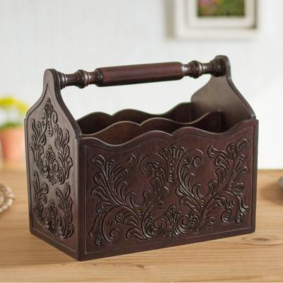 Wood and leather magazine rack, 'Colonial Vines' - Colonial Pattern Wood and Leather Magazine Rack from Peru
