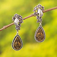 Silver and gourd shell dangle earrings, 'Sacred Birds' - Bird-Themed Silver and Gourd Shell Dangle Earrings from Peru
